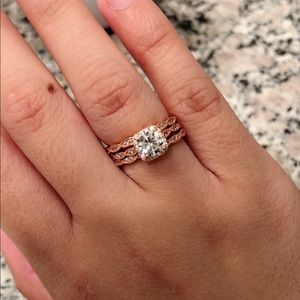Jewelry - 3 pcs Rose Gold Silver Wedding Engagement Ring Set